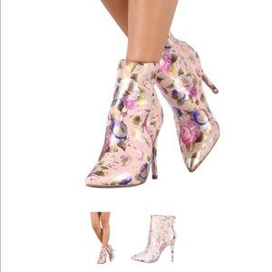 Pink Flower Floral Ankle Boots Stiletto Heels